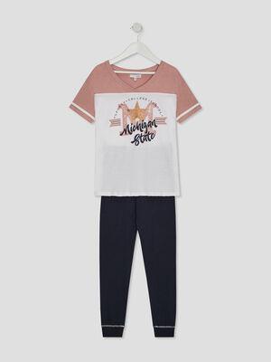 Pyjama a manches courtes avec imprime blanc fille