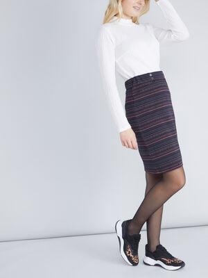 Jupe imprimee avec boutons multicolore femme