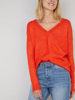 Pull uni col V orange femme