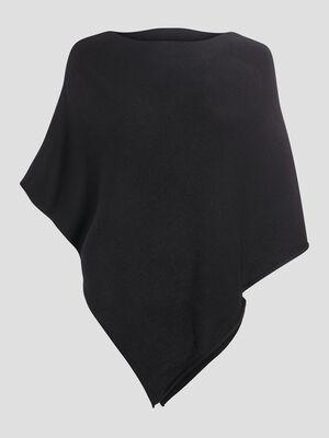 Poncho asymetrique noir femme