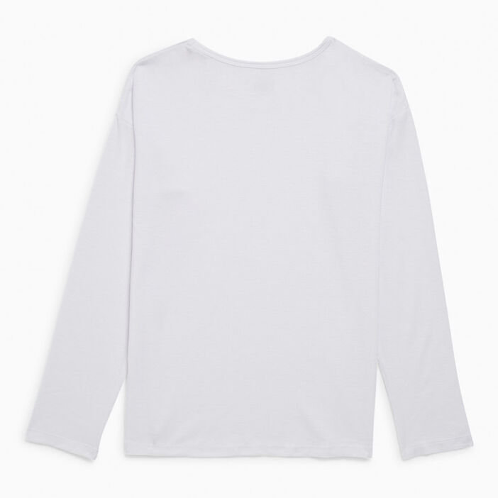 T-shirt col rond uni fille blanc
