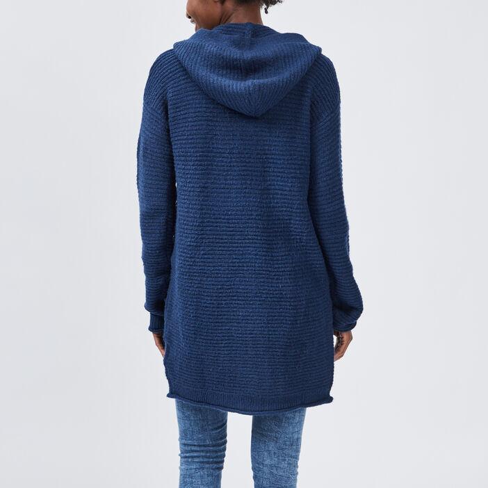 Gilet mi-long à capuche femme bleu