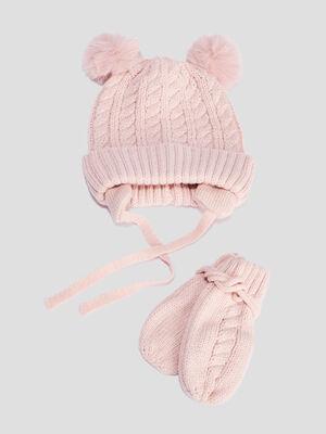 Ensemble bonnet et moufles rose bebef