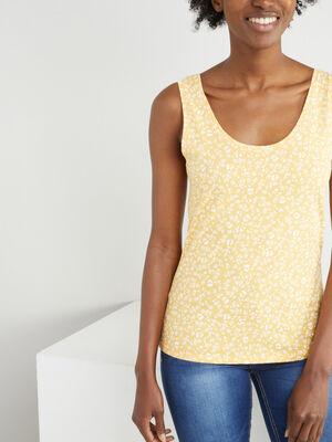 Debardeur imprime bretelles larges jaune femme
