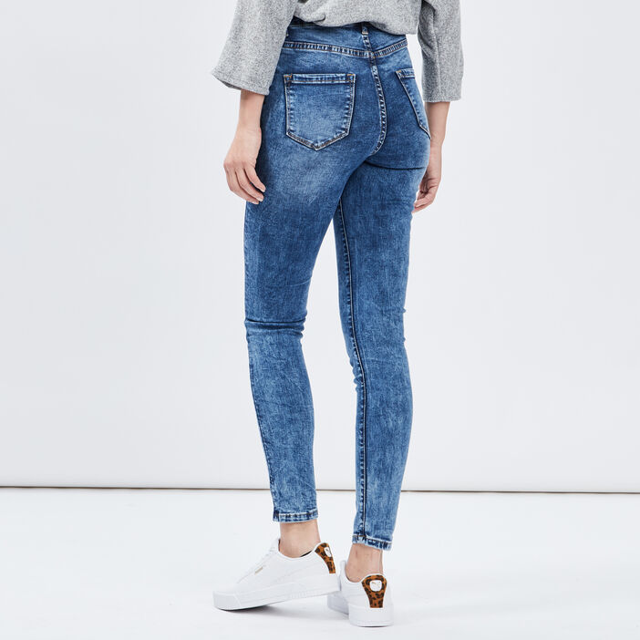Jeans skinny taille haute femme denim double stone