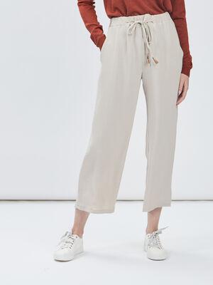 Pantalon large a coulisse beige femme