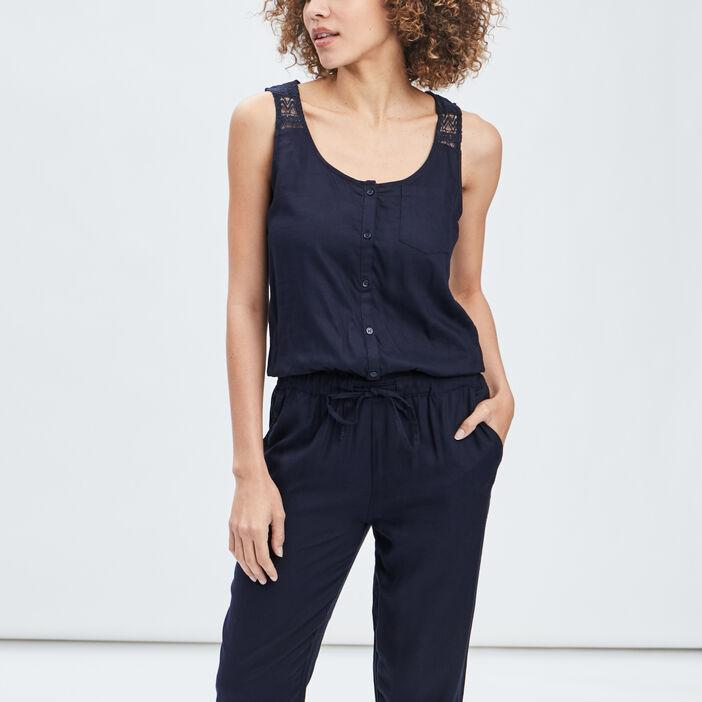 Combinaison pantalon à lien femme bleu marine