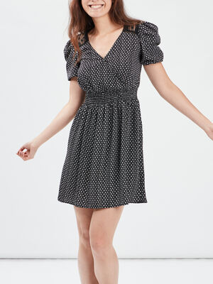 Robe droite taille elastiquee noir femme