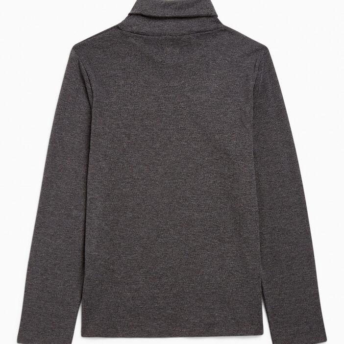 T-shirt uni manches longues garçon gris foncé