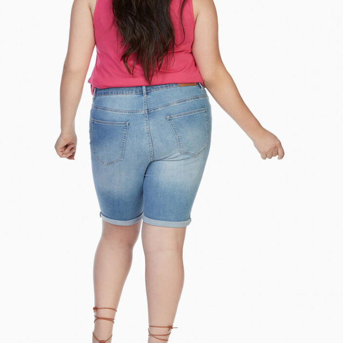 Bermuda coton mélangé grande taille femme grande taille denim double stone