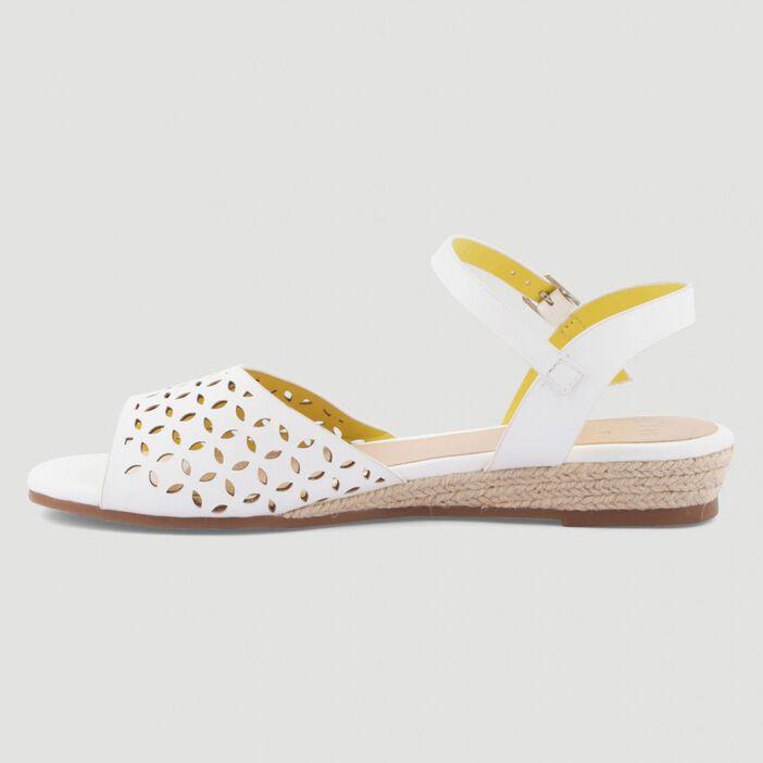 Sandales talon corde compensé femme blanc
