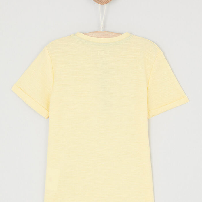 T-shirt uni col rond boutonné garçon jaune