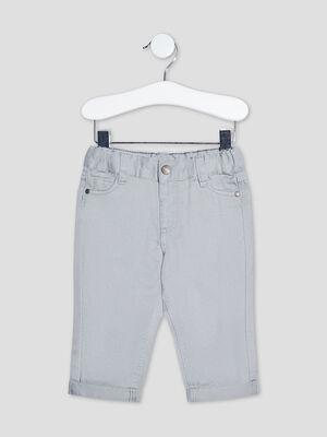 Pantalon droit taille ajustable gris bebeg