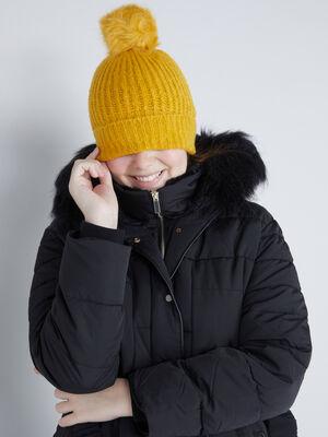 Bonnet a pompon uni jaune moutarde femme