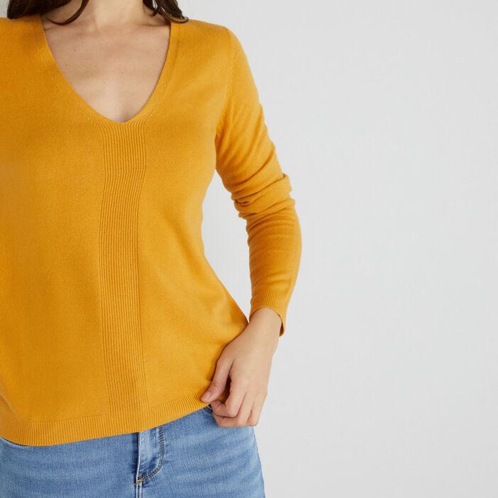Pull uni à motif côtelé femme jaune moutarde