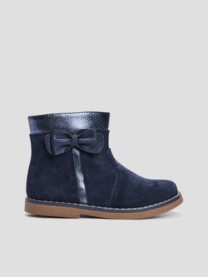 Bottines zippees en cuir bleu marine fille