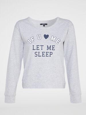 Haut de pyjama coton majoritaire gris femme