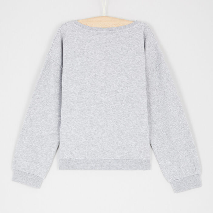 Sweatshirt avec inscription devant fille gris