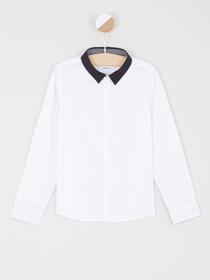 Chemise col contraste coton melange blanc garcon