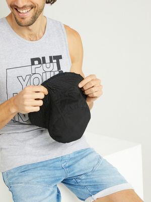 Bob uni en coton noir mixte