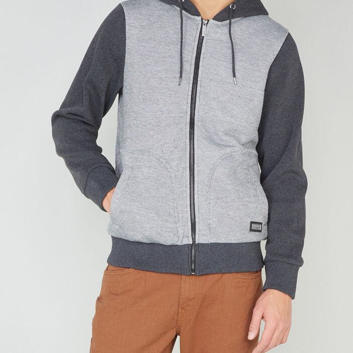 Sweat zippé à capuche homme gris