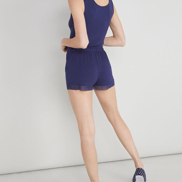 Short de pyjama avec dentelle femme bleu marine