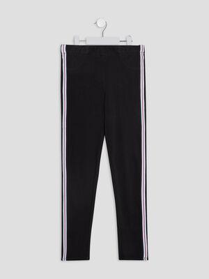 Pantalon jogging avec bandes noir fille
