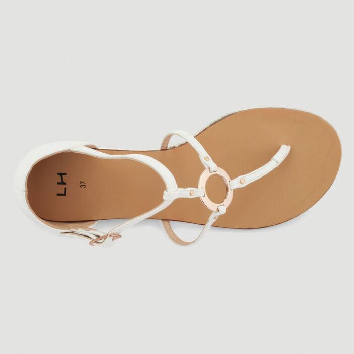 Sandales fines anneau et entredoigt femme blanc