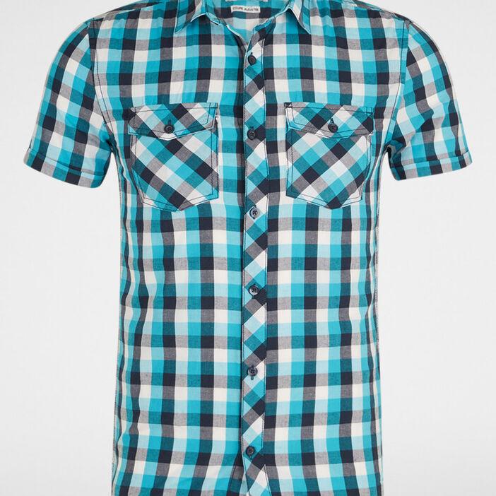 Chemise slim en coton carreaux homme bleu turquoise