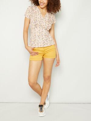 Short uni taille basse jaune moutarde femme