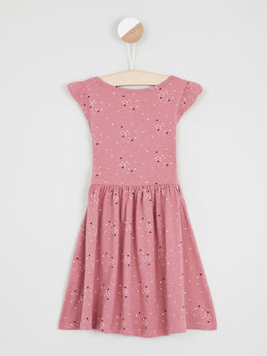 Robe patineuse a rayures rose fille