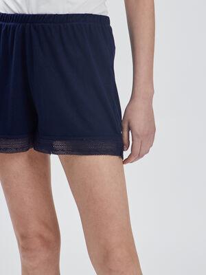 Short de pyjama avec dentelle bleu marine femme