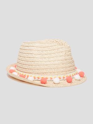 Chapeau borsa a pompons beige