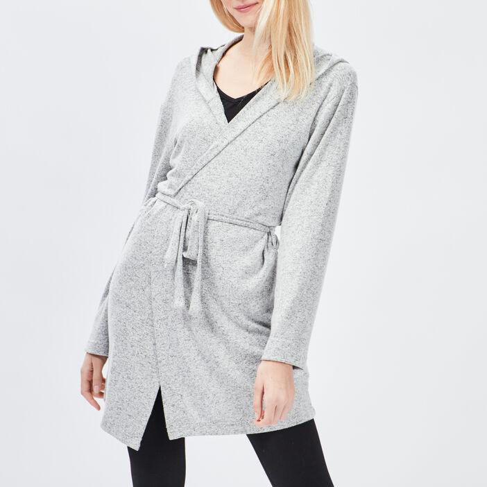 Peignoir mi-long à capuche femme gris