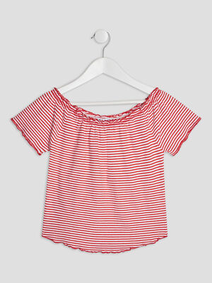 T shirt manches courtes rouge fille