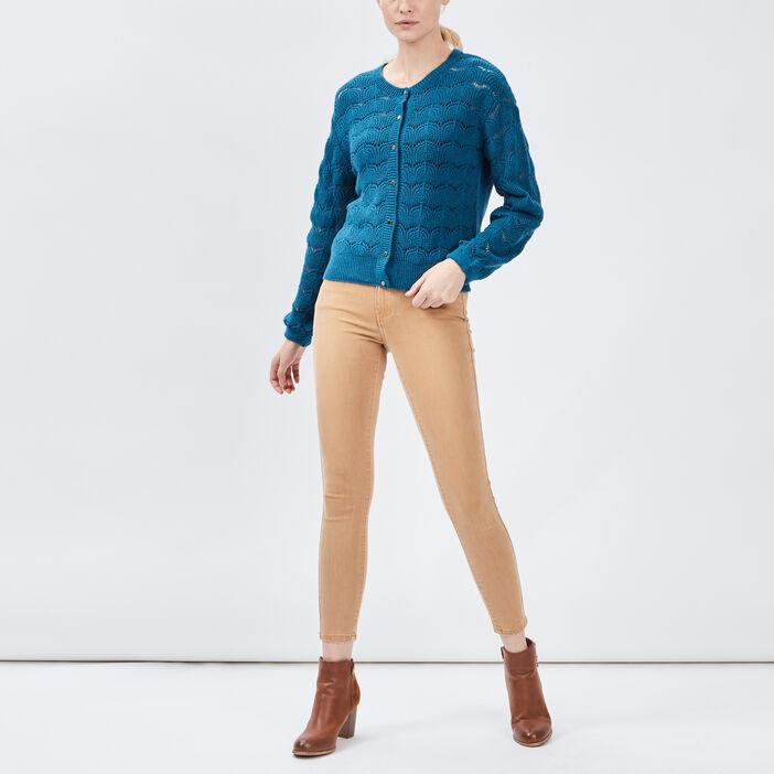 Gilet manches longues ajouré femme bleu canard