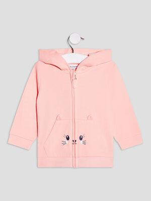 Gilet zippe a capuche rose fluo bebef