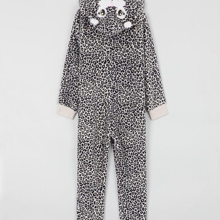 Pyjama combinaison imprimé à capuche fille beige