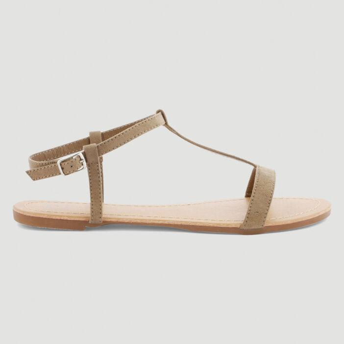 Sandales plates femme taupe