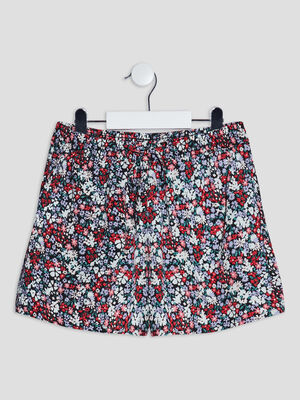 Short droit fluide multicolore fille