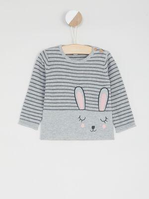 Pull raye imprime lapin gris bebef