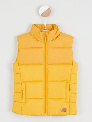 Doudoune sans manches unie jaune moutarde garcon
