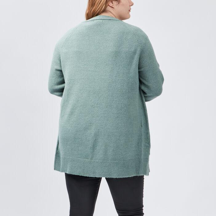 Gilet manches longues femme grande taille vert kaki