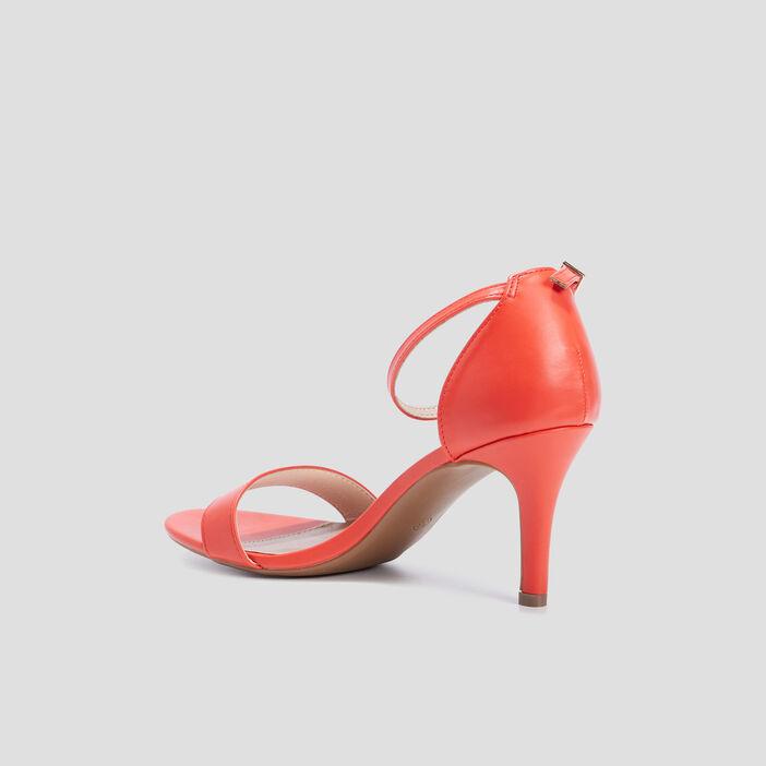 Sandales escarpins femme orange corail