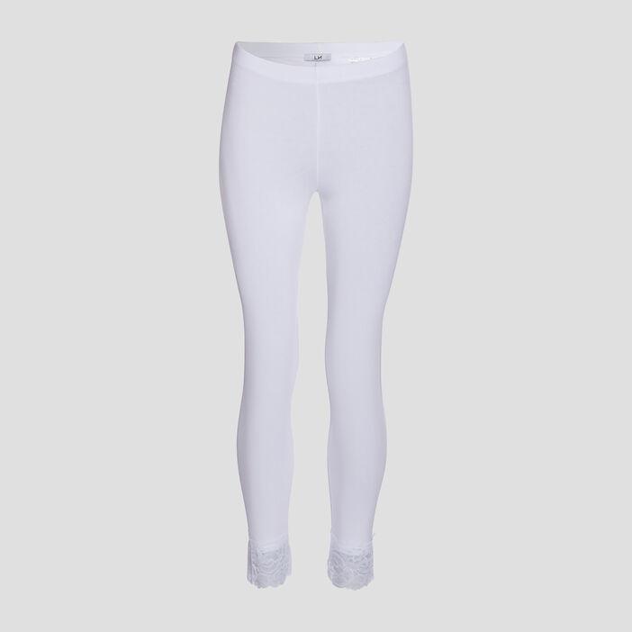 Legging 7/8ème avec dentelle femme blanc