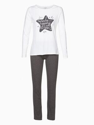 Pyjama TCHIP T shirt et corsaire ecru femme