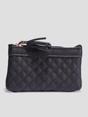 Porte monnaie matelasse noir femme
