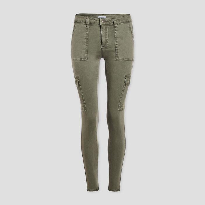 Pantalon skinny Creeks femme vert kaki