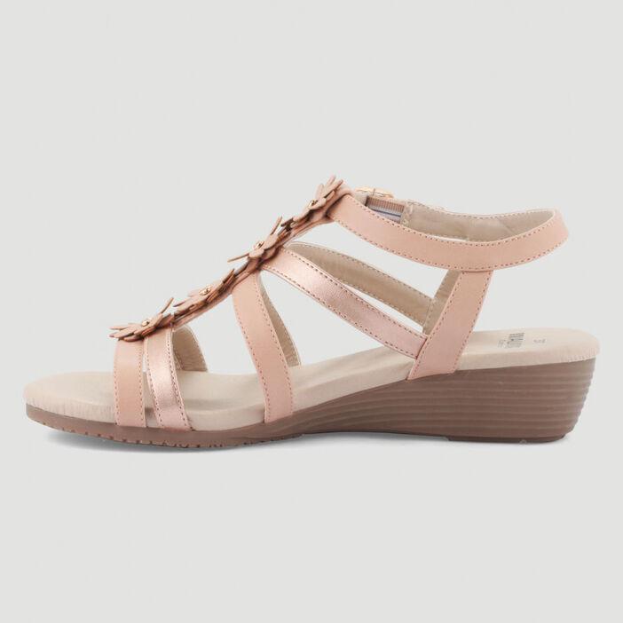 Sandales compensées patchs à fleurs femme rose