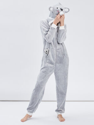 Combinaison de pyjama gris femme